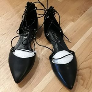 Only worn once! Black lace up flats
